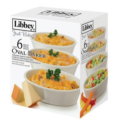 Libbey 56233 6-Piece Just Baking Oval Baker Set