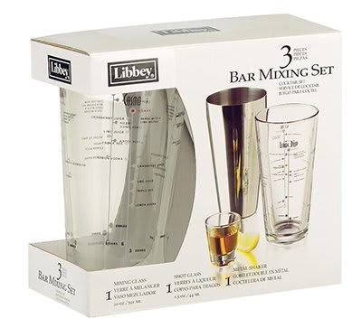 Libbey 80320/33706 Bar Mixing Set w/ Mixing & Shot Glass, Stainless Shaker
