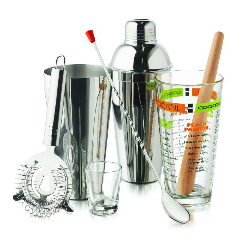 Libbey 80787 Mixologist Set w/ Shot & Mixing Glasses, Metal Strainer, Wooden Muddler