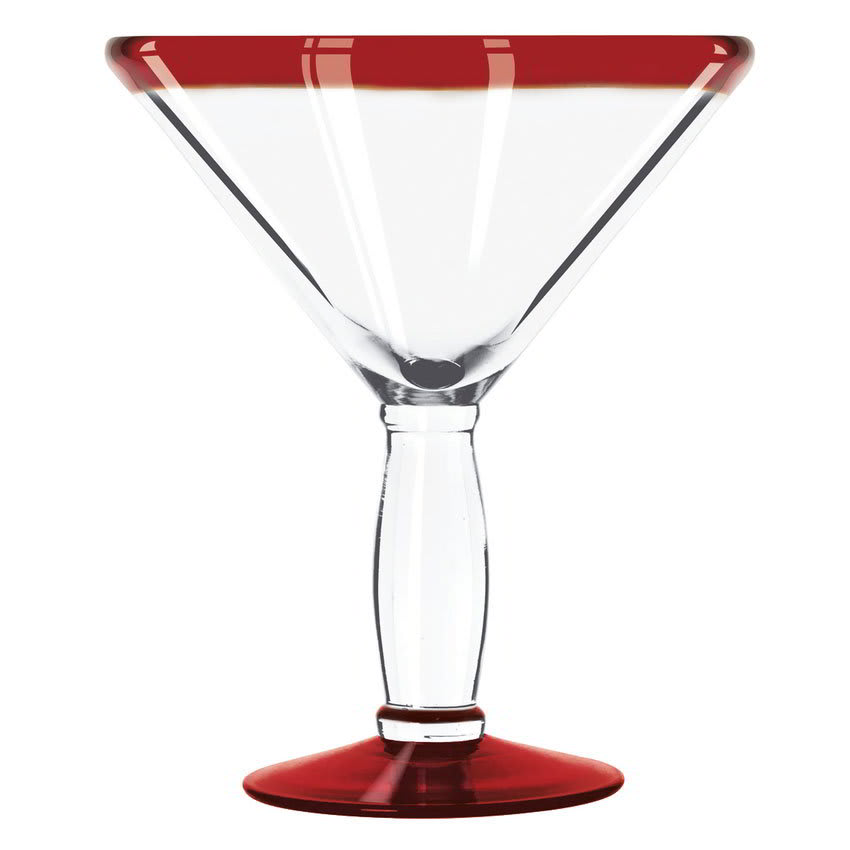 Libbey 92306R 15 oz Aruba Cocktail Glass w/ Red Rim & Foot