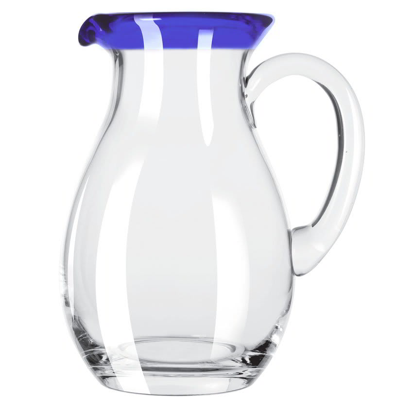 Libbey 92317 56 oz Aruba Glass Pitcher w/ Cobalt Blue Rim