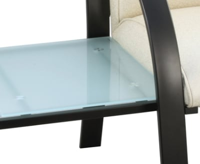 Ergocraft E-18916-BF Symphony Connecting Table w/ Frosted Glass & Black Steel Frame