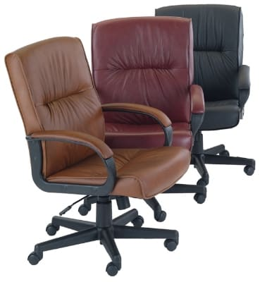 Ergocraft PS-7351 Mayor Leather Executive Chair w/ Medium Back & Adjustable Height, Lumbar Support
