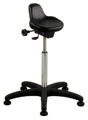 Ergocraft SS-10801 Polyurethane Grease Resistant Stool w/ Seat Angle Adjustment, Black