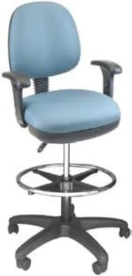 Ergocraft SS-20651-STFR Workmate Task Stool w/ Medium Back & 1-Paddle Seat Adjustment, Footrest