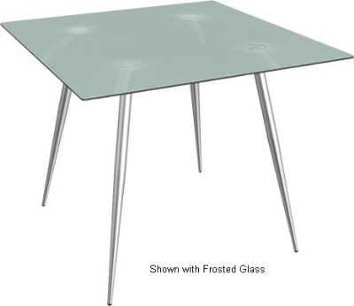 "Ergocraft TS-30336-AL Curve Lunchroom Square Table w/ 36"" Alumicast Top, Sleek Chrome Frame"