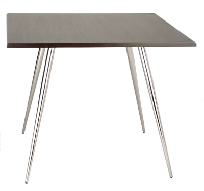 "Ergocraft TS-30336-CW Curve Lunchroom Square Table w/ 36"" Coffee Wood Top, Sleek Chrome Frame"
