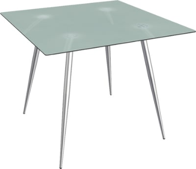 """Ergocraft TS-30342-FG Curve Lunchroom Square Table w/ 42"""" Frosted Glass Top, Sleek Chrome Frame"""