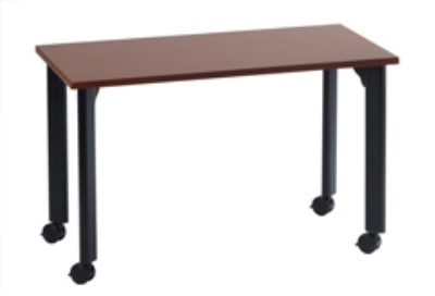 "Ergocraft TS-40453 MAH 36"" Motion Series Training Table w/ Locking Casters, Rectangular, Mahogany"