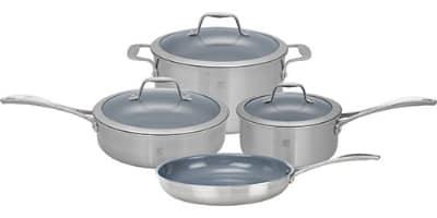 "Henckels 64080-000 7-Piece Set; 1-qt Sauce & 3-qt Saute Pan, 6-qt Dutch Oven w/ Lids, 10"" Fry Pan"