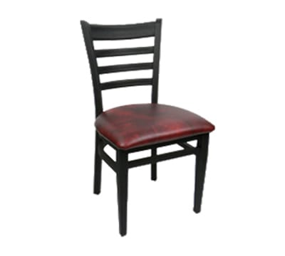 Carroll Chair 2-514GR3BLACK Ladder Back Dining Cafe Chair w/ Square Tube Construction, Grade 3, Black