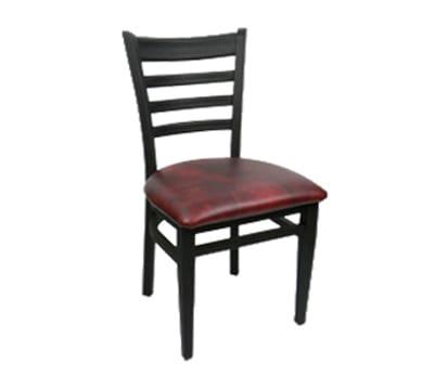 Carroll Chair 2-514GR3FLINT Ladder Back Dining Cafe Chair w/ Square Tube Construction, Grade 3, Flint