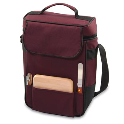 Picnic Time 623-04-118-000-0 Duet Wine Bottle Tote - 2-Compartment, Adjustable Strap, Burgundy
