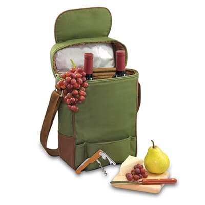 Picnic Time 623-04-120-000-0 Duet Wine Bottle Tote - 2-Compartment, Adjustable Strap, Pine Green