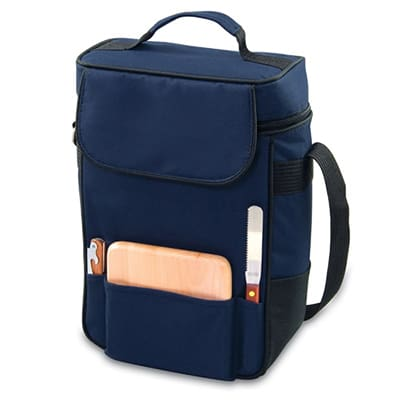 Picnic Time 623-04-138-000-0 Duet Wine Bottle Tote - 2-Compartment, Adjustable Strap, Navy