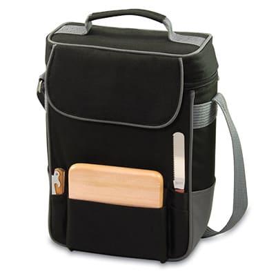 Picnic Time 623-04-175-000-0 Duet Wine Bottle Tote - 2-Compartment, Adjustable Strap, Black