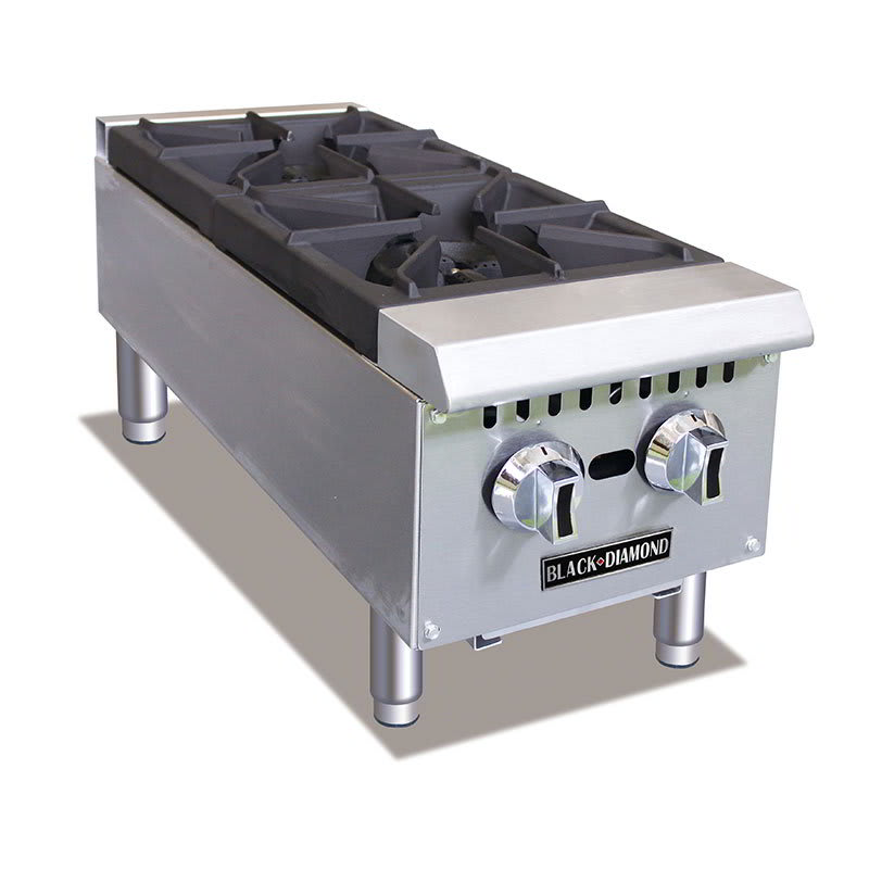 Black Diamond BDCTH-12 2 Burner Hot Plate - Heavy Duty, 50,000 BTU, Stainless