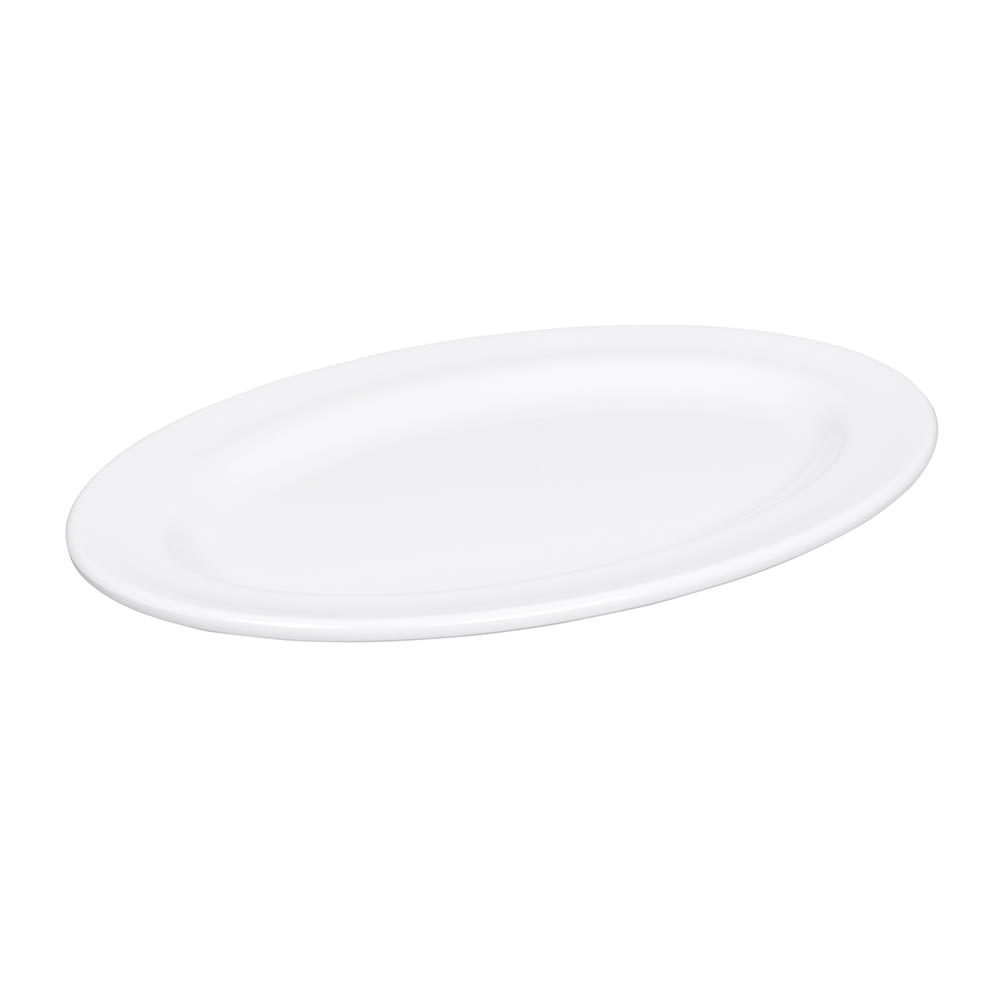 "Elite Global Solutions D812OV-W Merced Oval Platter - 12.75"" x 9.75"", Melamine, White"