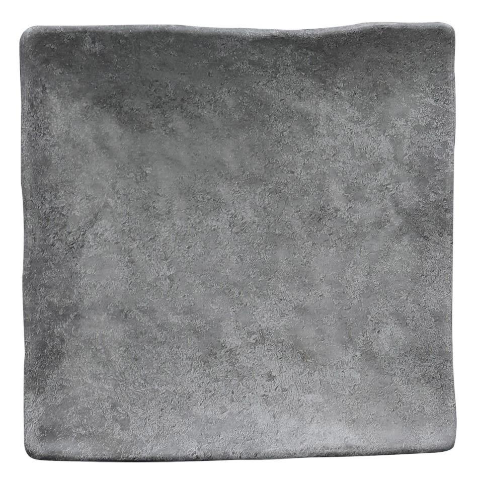 "Elite Global Solutions D812SQ 8"" Square Basalt Plate - Melamine, Coal"