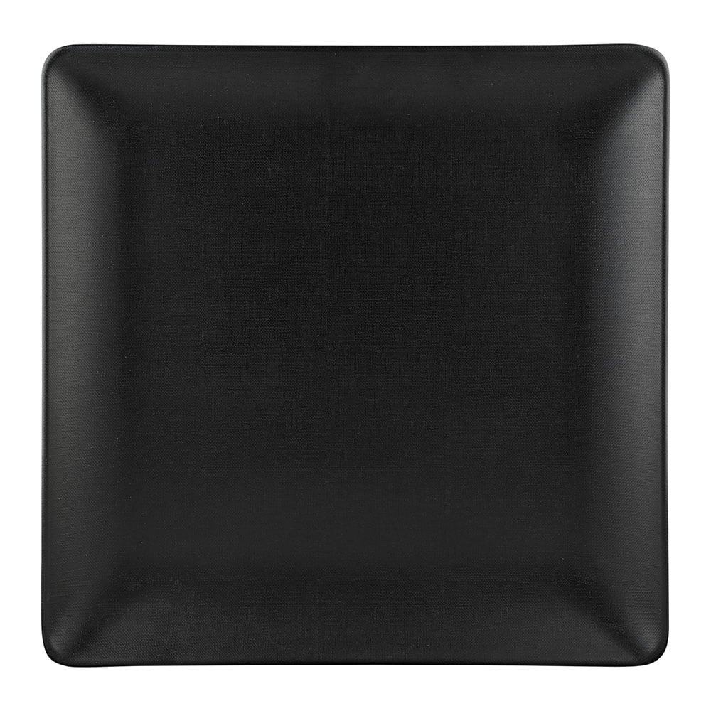 "Elite Global Solutions ECO1010SQ 10"" Square Greenovations Plate - Melamine/Bamboo, Black"