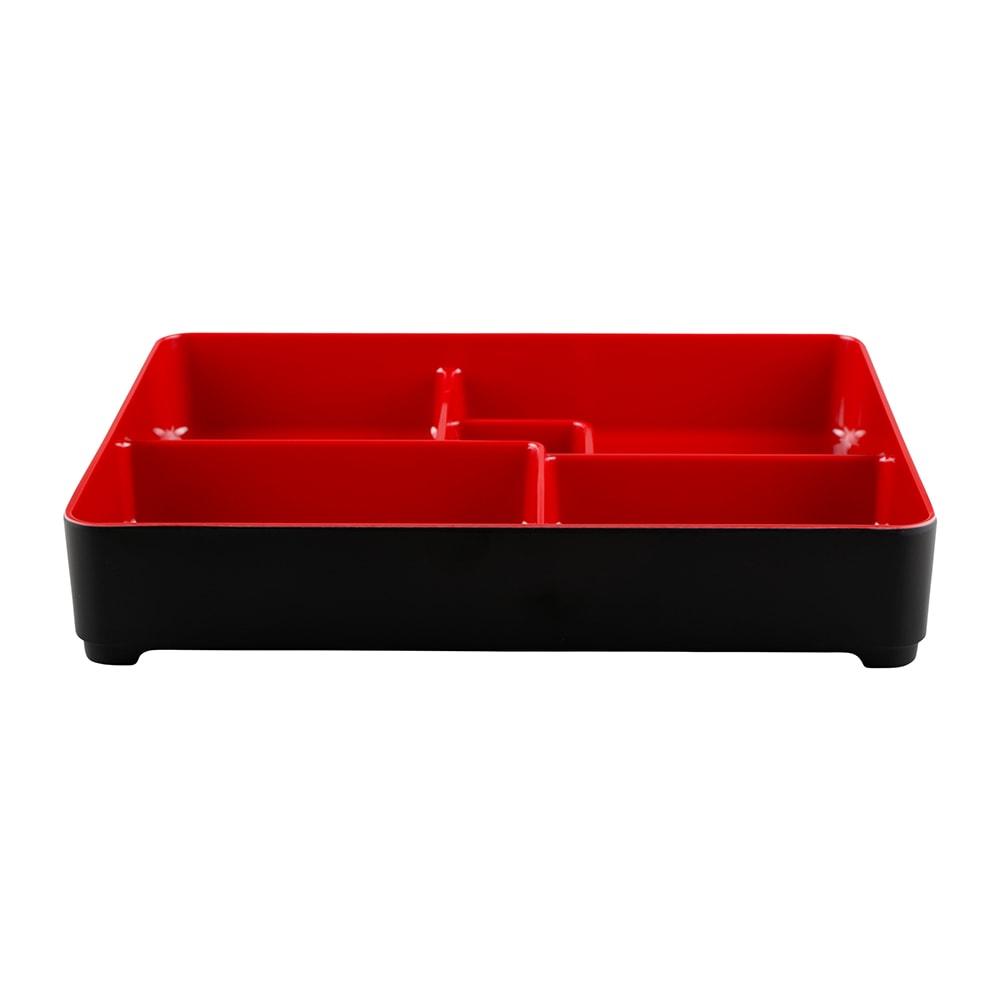 "Elite Global Solutions JW11852T Karma Bento Box - 10.75"" x 8.38"", Melamine, Black/Red"