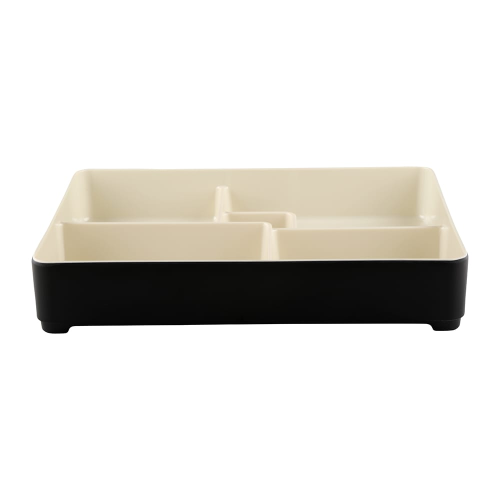 "Elite Global Solutions JW11852T Karma Bento Box - 10.75"" x 8.38"", Melamine, Ebony/Sand"