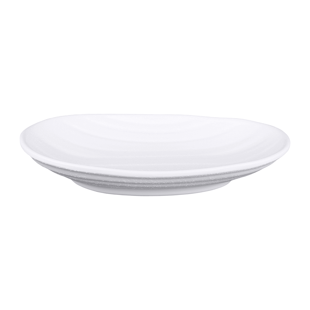"Elite Global Solutions JW7307 Oval Zen Plate - 7.25"" x 4.5"", Melamine, White"