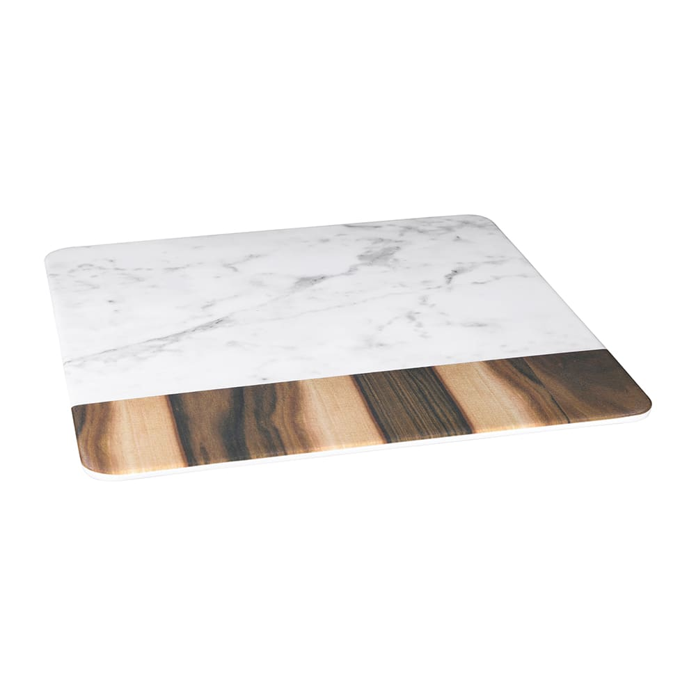 "Elite Global Solutions M13M-HWC 13"" Square Sierra Serving Board - Melamine, Faux Hickory Wood/Carrera Marble"