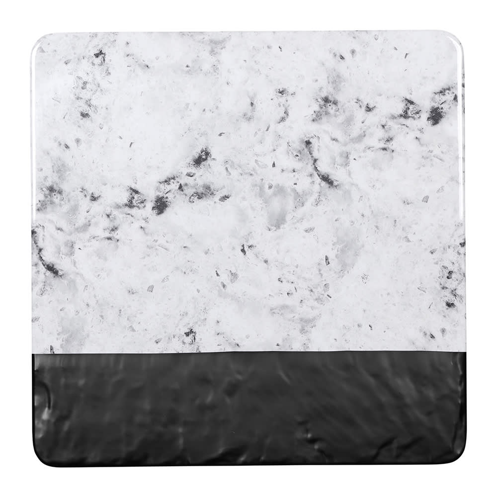 "Elite Global Solutions M13SM-BH 13"" Square Horizon Slate Serving Board - Melamine, Black Slate/Faux Horizon Marble"