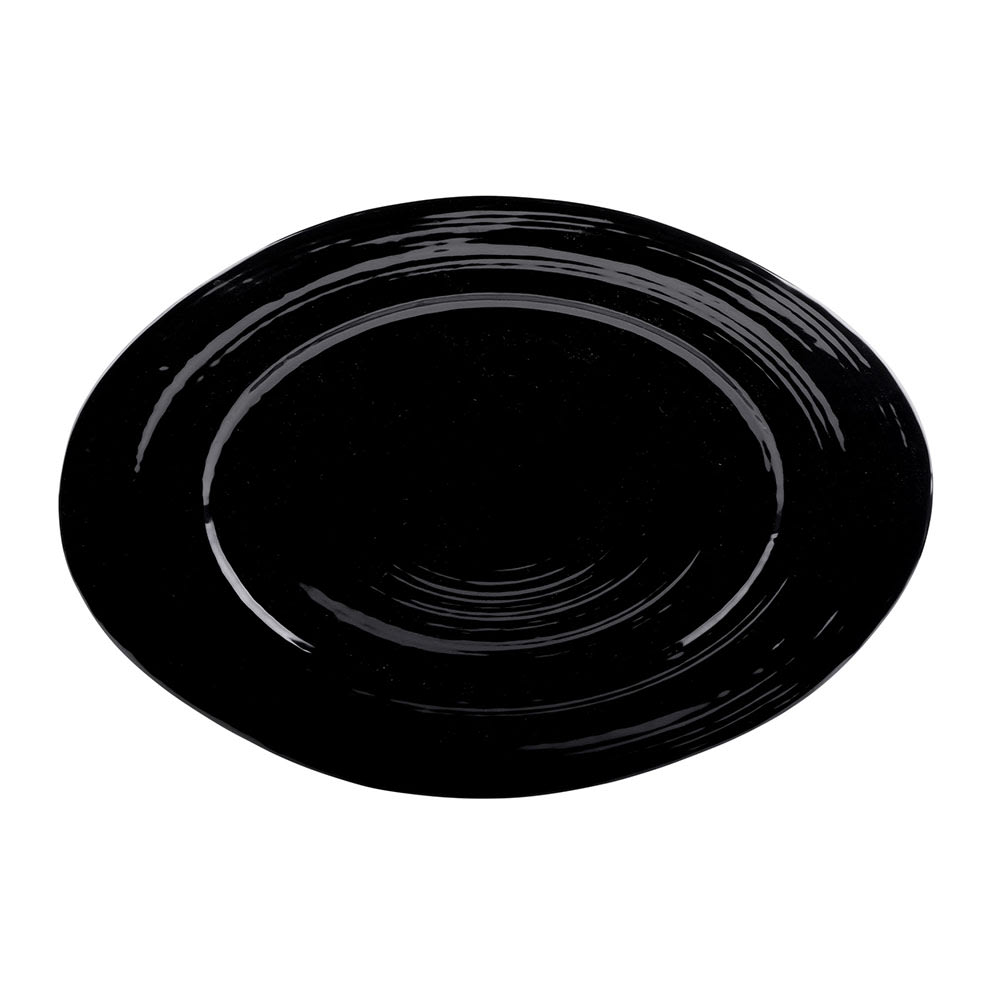 "Elite Global Solutions M16512OV-B Oval Della Terra Serving Dish - 16.5"" x 12"", Melamine, Black"