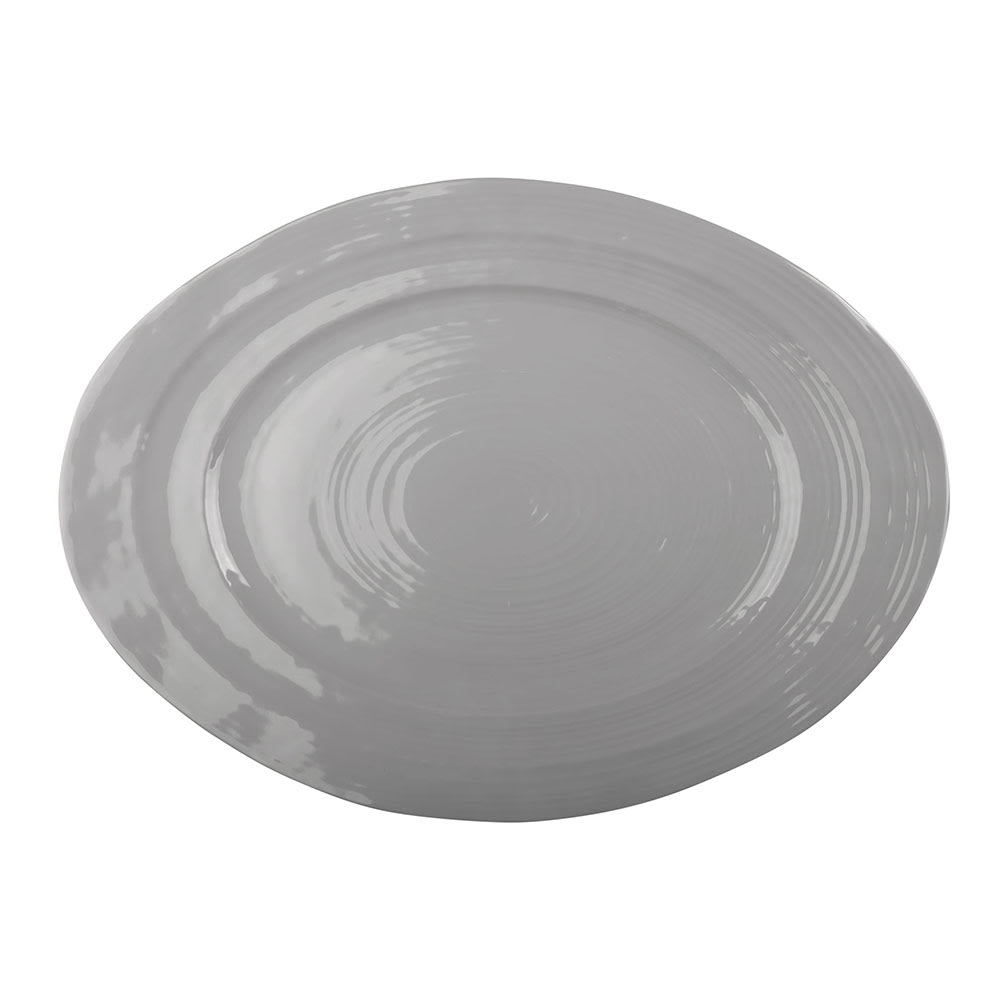 "Elite Global Solutions M16512OV-G Oval Della Terra Serving Dish - 16.5"" x 12"", Melamine, Gray"