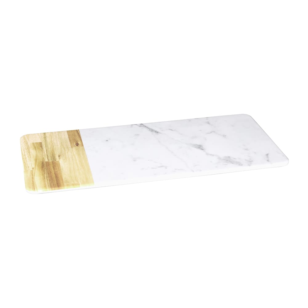 "Elite Global Solutions M714RCM-AWC Rectangular Sierra Serving Board - 14.25"" x 7"", Melamine, Faux Alder Wood/Carrera Marble"