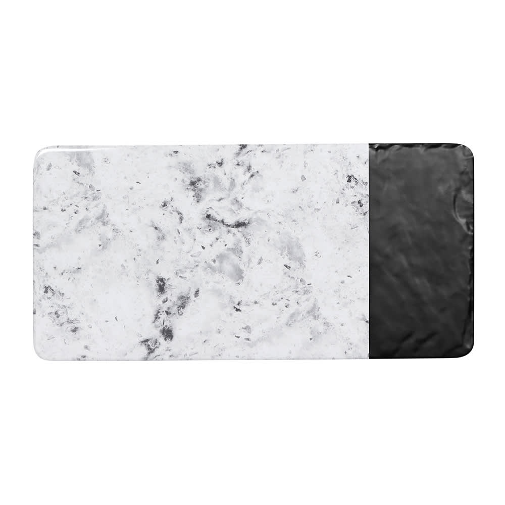 "Elite Global Solutions M714RCSM-BH Rectangular Horizon Slate Serving Board - 14.25"" x 7"", Melamine, Black Slate/Faux Horizon Marble"