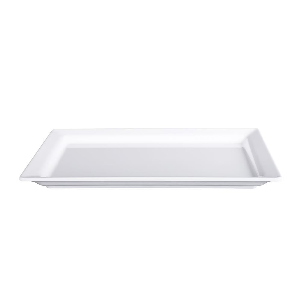 "Elite Global Solutions M8131RC-W Rectangular Vogue Serving Platter - 13"" x 8.38"", Melamine, White"