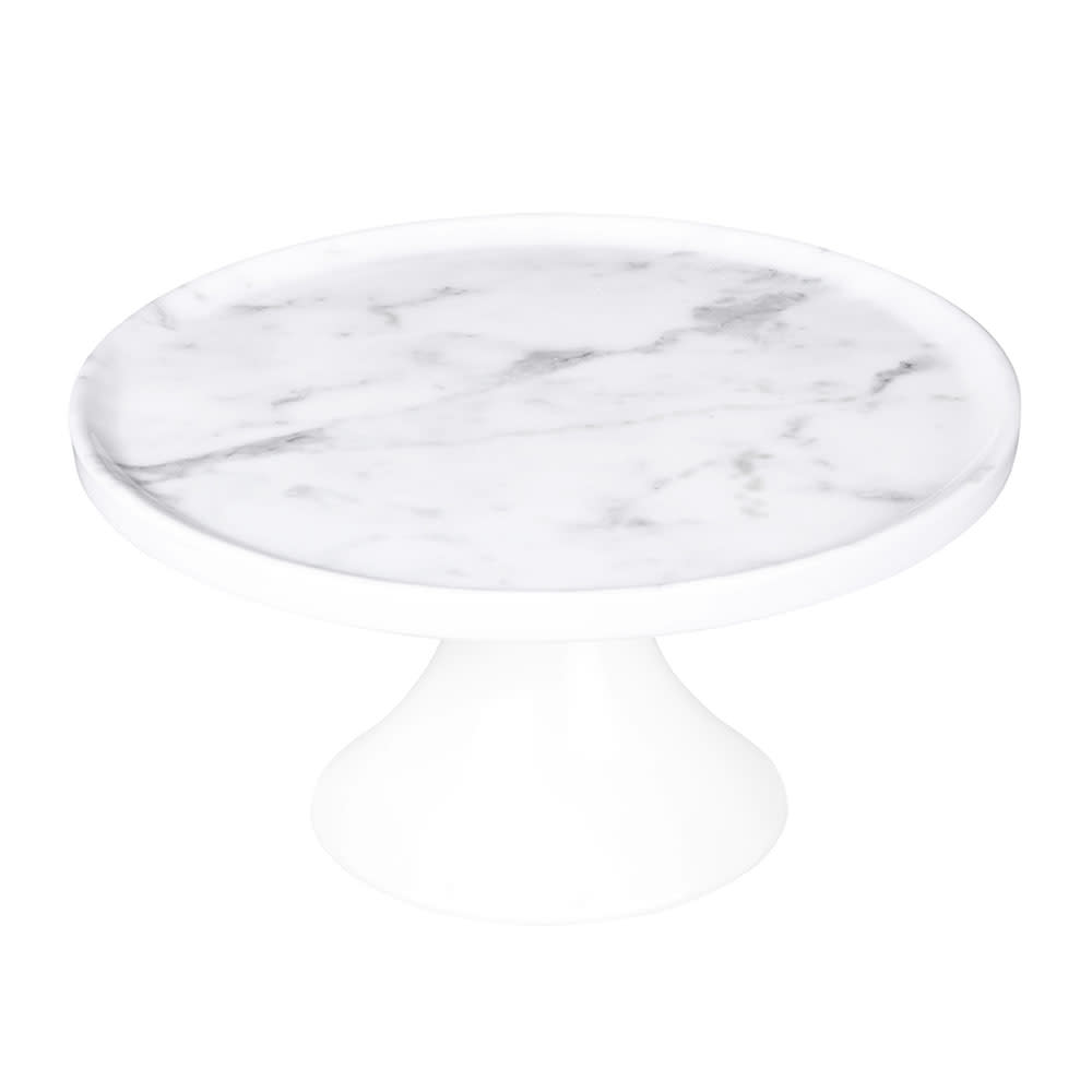 "Elite Global Solutions M8RPKT-C 8"" Round Sierra Plate Stand - Melamine, Faux Carrera Marble"