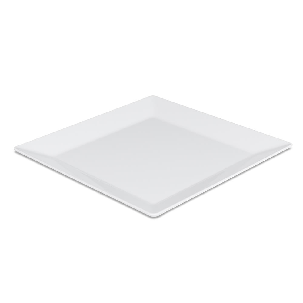 "Elite Global Solutions Q2-V145 14.5"" Square Stratus Trays Serving Platter - Melamine, White"