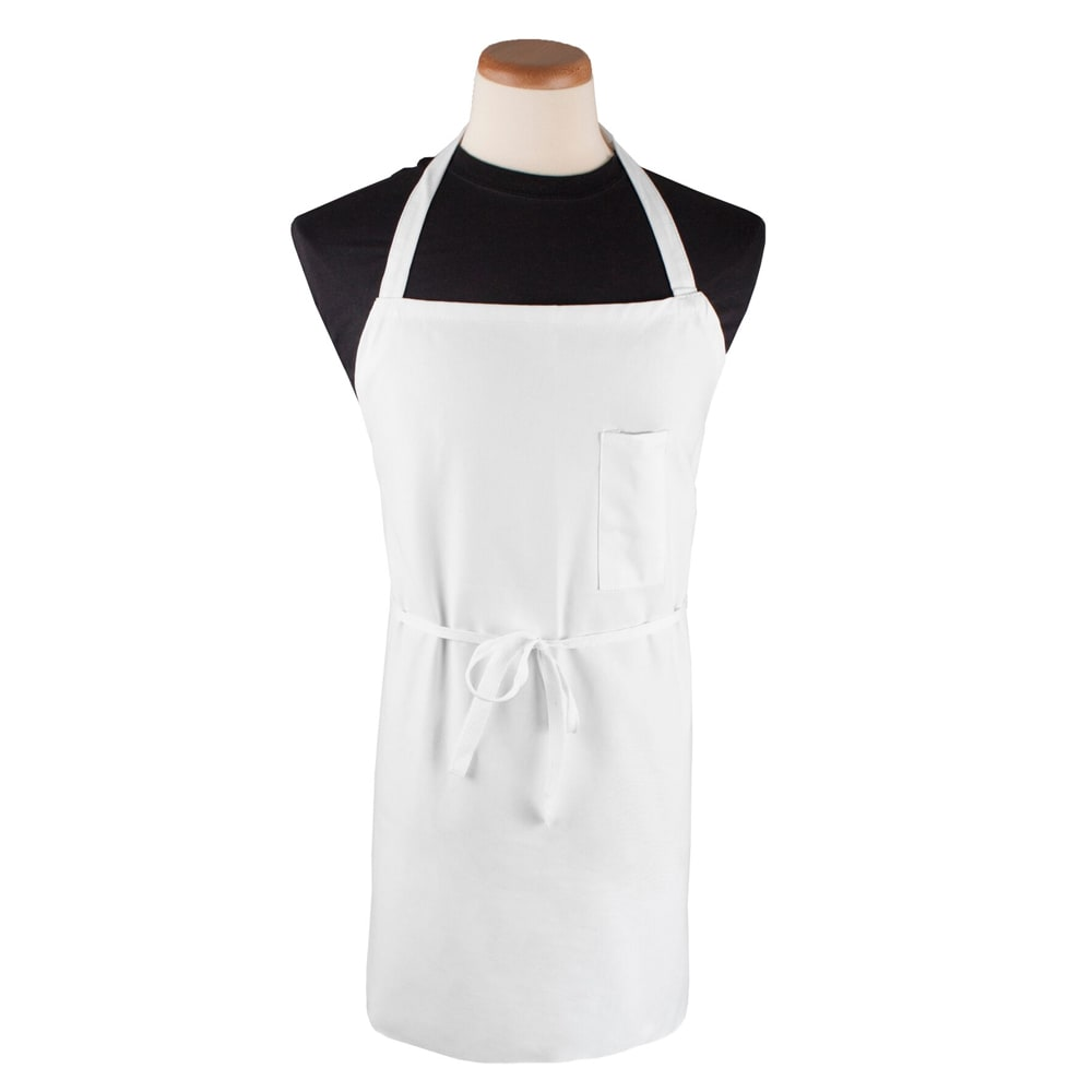 "Chef Revival 600BAW-D Bib Apron w/ Pencil Pocket & Durable Self-Ties, 42 x 36"", White"