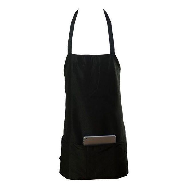 "Chef Revival 602BAFH-BK Bib Apron, Twill Blend, 25 x 27"", 3-Pocket, Black"