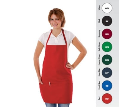 "Chef Revival 612BAFH-GN Bib Apron, 28 x 27"", 3 Pocket, Adjustable Neckband, Hunter Green"