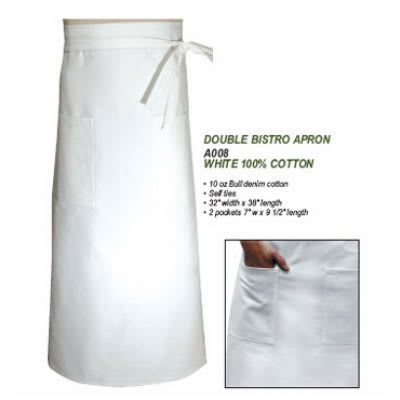 """Chef Revival A008 Chef Bistro Waist Apron, 32 x 38"""", Cotton, White"""