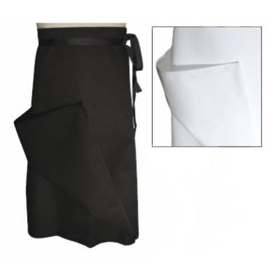 "Chef Revival A009BK Chef Bistro Waist Apron, 30 x 30"", Poly Cotton Blend, 4-Way, Black"