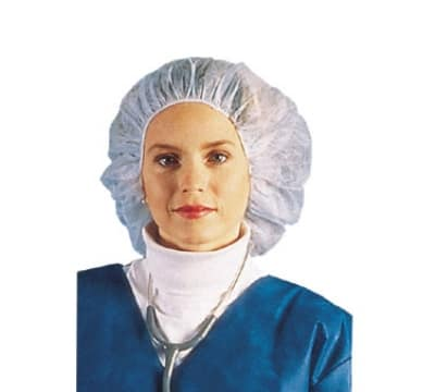 Chef Revival BCAP110CW Bouffant Cap Hairnet, 24-in, Lint-Free, Flame Resistant, White