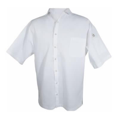Chef Revival CS006WH-S Poly Cotton Blend Cook Shirt, Small, Pocket, Short Sleeve, White