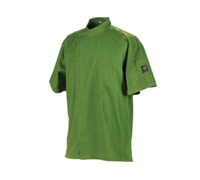 Chef Revival J020MT-M Jacket w/ Cross Collar, Short Sleeves, Snap Button, Poly-Cotton, Mint, Medium