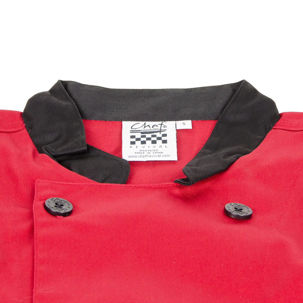 Chef Revival J134TM-M Chef's Jacket Size Medium, 3/4 Sleeve, Tomato w/ Black Trim