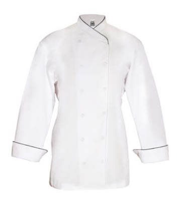 Chef Revival LJ008GN-XL Ladies Poly Cotton Corporate Chef Jacket, X-Large, Green Piping