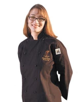 Chef Revival LJ025BK-S Ladies Poly Cotton Cuisinier Chef Jacket, Small, Black