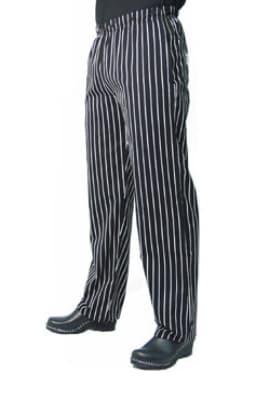 Chef Revival P016WS-L Cotton Chef Pants, Slim Fit, Large, Black/White Pinstripe