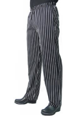 Chef Revival P016WS-M Cotton Chef Pants, Slim Fit, Medium, Black/White Pinstripe