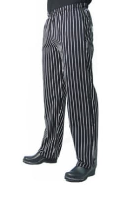 Chef Revival P016WS-XL Cotton Chef Pants, Slim Fit, X-Large, Black/White Pinstripe
